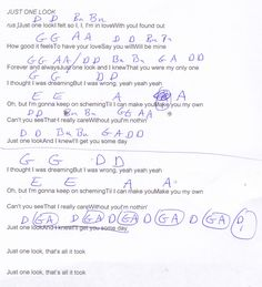 Just One Look (The Hollies) Guitar Chord Chart