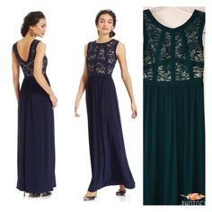 R&M Richards Petite Sleeveless Glitter Lace Gown Formal floor length dress with a glittery lace paneled bodice. Back zipper closure. Stock photo to show style of dress, but color is teal not dark blue. The teal is almost identical to the midnight green of the Philadelphia Eagles. Worn once to a formal event. R&M Richards Dresses Maxi