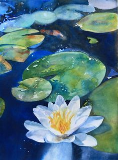 There is a beautiful Lotus Garden in our California city. I used to go there to draw, compose paintings and then start a watercolor. Towards the Divine Lilies Drawing, Water Lilies Painting, Pond Painting, Lotus Painting, Lily Painting, Watercolor Lotus, Watercolor Wallpaper, Watercolor Flowers, Watercolor Paintings