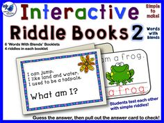 Students just fold and glue to make this interactive riddle book. Practice reading by quizzing each other and checking the answer on the pull out card. Printing practice included. $ Whimsy Workshop Teaching