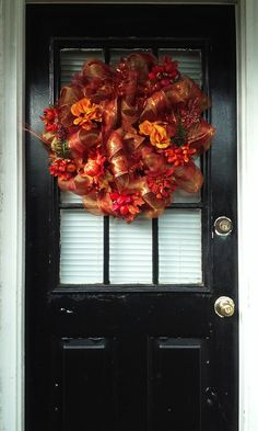 EX. LARGE HARVEST Fall/Autumn Door Wreath~Fall Decor~Front Door Harvest Wreath~Fall Floral Decor~ Fall Season~Metallic Copper Work Wreath by TeesWonderfulWreaths on Etsy