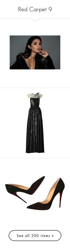 """""""Red Carpet 9"""" by pocahaunted666 ❤ liked on Polyvore featuring dresses, gowns, valentino, bags, handbags, clutches, purses, dark purple, leather clutches and monogrammed purses"""