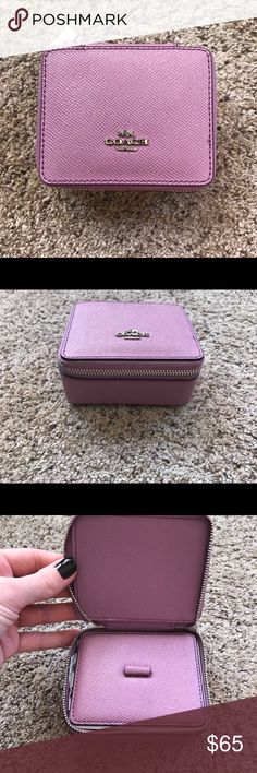 Coach Leather Travel Jewelry Case (Pink) (NWT) Pink Coach peddle Leather travel jewelry case. Perfect to pack those couple of jewelry sets for vaca or overnight when you just can't decide which to bring or leave behind and don't want everything to get all tangled!! Great gift idea!!  Will send gift box for no extra fee.   Bundle & Save!   Happy Shopping!! Coach Bags Travel Bags