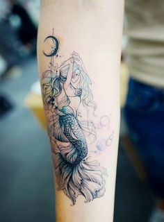 50 beautiful mermaid tattoo ideas you need to try .- 50 schöne Meerjungfrau Tattoo-Ideen, die Sie versuchen müssen – Seite 4 von 50 beautiful mermaid tattoo ideas you must try – page 4 of 50 – mermaid drawings – to - Finger Tattoos, Body Art Tattoos, New Tattoos, Sleeve Tattoos, Tatoos, Tattoo Art, Mermaid Tattoo Designs, Mermaid Tattoos, Mermaid Thigh Tattoo