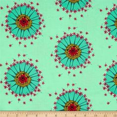 Anna Maria Horner Mod Corsage Centered Seafoam from @fabricdotcom  Designed by Anna Maria Horner for Free Spirit, which is part of the mod corsage collection that offers bright, illustrative bouquet scenes with vintage flair as well as softer, more traditional floral renderings for balance. This cotton print fabric is perfect for quilts, home décor accents, craft projects and apparel. Colors include black, green, gold, seafoam, aqua, magenta, hot pink and teal.