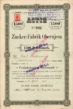 17385 / Zucker-Fabrik Obernjesa / Obernjesa, 01.04.1883, Gründeraktie, Namensaktie über 1.500 Mark, später auf 1.000 Mark und dann auf 700 Mark und schließlich auf 700 DM umgestempelt