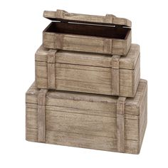 Wood Boxes Nautical Maritime Decor (Set of 3)   Overstock.com Shopping - Great Deals on Accent Pieces