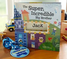 For Talan when the new baby is born...=) 'The Super, Incredible Big Brother' Personalized Hardcover Book & Medal.Help  welcome a new sibling to the family while reminding him how important he is with a personalized book detailed with adorable illustrations. A coordinating medal can be worn proudly to remind everyone of his new status.