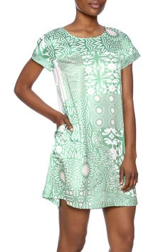 Lilly inspired pink and green short sleeve shift with on seam pockets.  Patchwork Tailored Dress by Traffic People. Clothing - Dresses - Floral Clothing - Dresses - Short Sleeve Kentucky