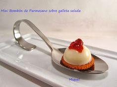 Les receptes del Miquel: Mini Bombón de parmesano sobre galleta salada