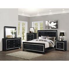 Black Bedroom Sets, Bedding Master Bedroom, King Bedroom Sets, Queen Bedroom, Mirror Bedroom, Queen Headboard, Tall Headboard, Dresser Mirror, Bedroom Wardrobe