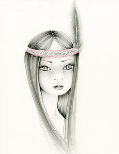 "Pencil Drawing Illustration Native American Art ""Little Braveheart"" by ABitofWhimsyArt, $30.00"
