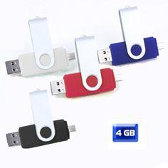 USB giratoria con ENTRADA A CELULAR 4 GB.  Medidas: 6 cm x 1.6 cm x 1 cm Material: Metal / Plástico Técnica de impresión recomendada:  Tampografía / Grabado láser. ¿Te gusta? Solicítalo en Sartory al (01-999)9261006