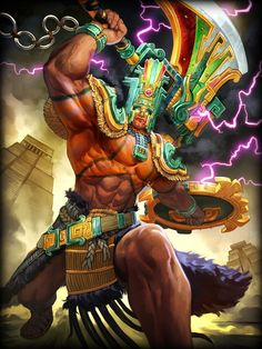 Chaac, Mayan god of rain and thunder. Their version of the Aztec Tlaloc. Aztecas Art, Aztec Culture, Aztec Warrior, Chicano Art, Fantasy Illustration, Mexican Art, Gods And Goddesses, Fantasy Creatures, Deities