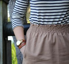 navy stripes with a nude skirt. Preppy Outfits, Preppy Style, Cute Outfits, My Style, J Crew Outfits, Preppy Clothes, Work Outfits, Spring Summer Fashion, Autumn Winter Fashion