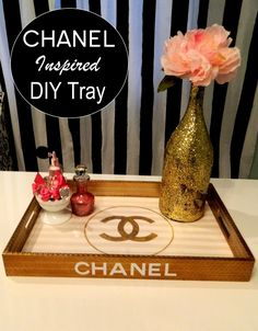 DIY Chanel inspired organizer tray. Home office. White and gold. Pretty Lovely Living.