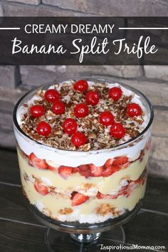 This Creamy Dreamy Banana Split Trifle is filled with layers of fresh fruit, fluffy angel food cake, and creamy pudding! A dessert everyone will love!