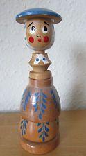 Fab vintage rare rétro kitsch nouveauté en bois egg cup et salière poivrière * lady * set