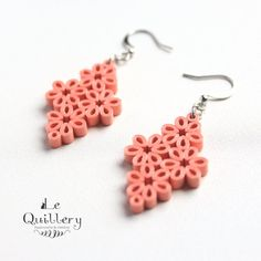 Coral Lacy Lattice Filigree Earrings - Handmade Paper Quilling Jewelry by LeQuillery, $18.50