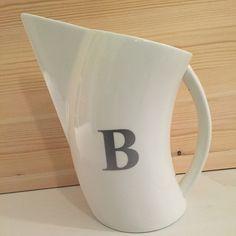 """Ceramic pitcher with single silver gray monogram #tableware #pitcher #monogram #monogramitall #whitedishes #ceramic"""