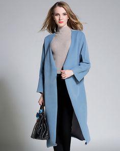 Light Blue Long Sleeve V Neck Front Open Long Coat