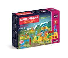 Magformers Village Set (110 PCS) - Construct buildings with Magformers Village 110Pc Set. Use Magformers building techniques including wall, combine and transform to create Clock Towers, Hotels, Cabins and more! Clip in balconies, windows and stairs and create your own stories.