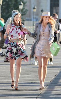 """""""Belles de Jour,"""" Season 4 from Blake Lively's 10 Best Looks Ever on Gossip Girl  """"Who else can pull off one of a kind Couture as day looks, all while nibbling macaroons and having the time of their lives?! S and B, of course,"""" Daman says of the girls' looks in the Paris episode. """"Serena is GG2.0 in her George Chakra hand beaded cage dress (Totally day time a propos when worn with Repetto flats, Rag & Bone Blazer and boater)! Blair is Parisian heaven: A fluffy fashionable macaroon herself in…"""