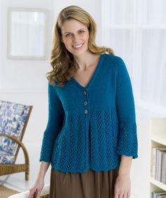 Cardie to Love Knitting Pattern | Red Heart - free knit op pattern with great lace detailing.