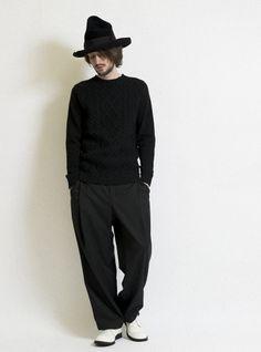 cable lamb's wool/YAK Boyle RaglanCrewsweater 詳細画像 Black 7