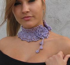 Crocheted  choker/necklace with purple glass beads