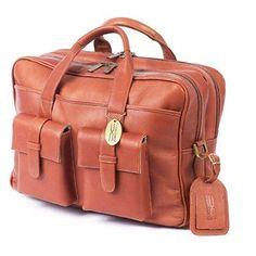 ClaireChase Personalized Platinum Briefcase - Saddle - 157E-SADDLE-MONOGRAM