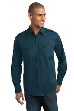Port Authority Stain-Resistant Roll Sleeve Twill Shirt S649 Ultra Blue