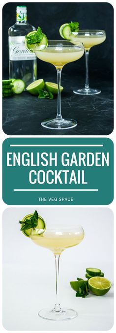 This pretty English Garden Cocktail of cucumber gin, apple juice and mint is a one-unit cocktail, a perfect light tipple for pre-dinner drinks. Vegetarian and Vegan Cocktail Recipe. Summer Cocktails, Cocktail Drinks, Cocktail Recipes, Alcoholic Drinks, Beverages, Cucumber Cocktail, English Garden Cocktail, Gin Basil, Gin Fizz