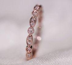 Stock!! MILGRAIN Bezel 14k Rose Gold Wedding Band Pave Diamonds  Engagement Ring/  Wedding Ring/ Full Eternity Band/ Anniversary Band