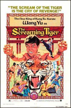 SCREAMING TIGER - 1973 - orig 27x41 movie poster - WANG YU - Great KUNG FU art!