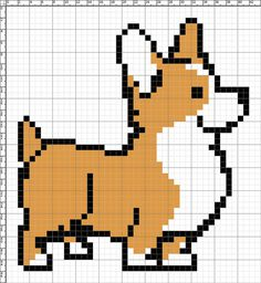Corgi cross stitch chart or hama perler bead pattern