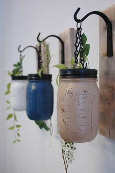 Individual Hanging Painted Mason Jar Wall by PineknobsAndCrickets