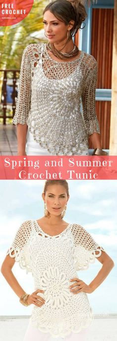 Perfect Tunics for warm seasons. Covering other clothes or simply wear it when the sun is shining and the temperature is very high. You will find two more proposes with diagrams. The full article is below. Ads free diagram and description are here. Join our facebook group to get advice or to share your work. SAVE ON PINTEREST!