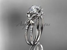 14k+white+gold+diamond+floral+wedding+ring,engagement+ring+ADLR140