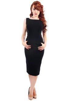 Collectif Hepburn Classic Pencil Dress Black - Jurkjes