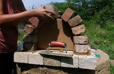 building an outdoor fireplace and pizza oven with cinder. Black Bedroom Furniture Sets. Home Design Ideas