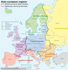 Шесть регионов Европы с населением близким по ментальным и культурным традициям. |
