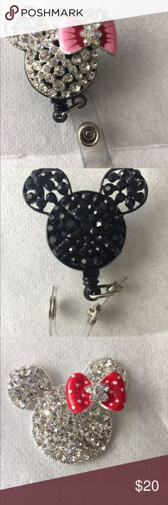 Bling ID Badge Holder Retractable, Bling for your work ID, disney inspired Jewelry Brooches