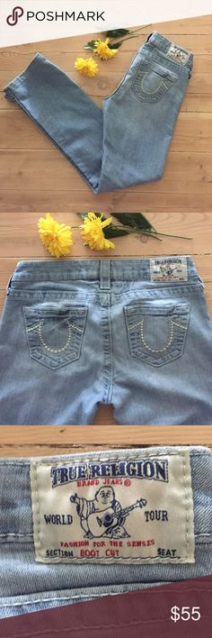 "True Religion Boot Cut Jeans Light wash, boot cut jeans.  Very slight discoloration in a small spot on right leg that isn't noticeable unless looking very very closely - otherwise in great, gently used condition.  In seam is 30"". True Religion Jeans Boot Cut"