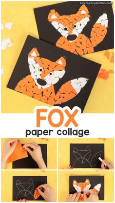 Paper Collage Fox Craft - Torn Paper Art Ideas – Mosaic Collage - Easy Peasy and Fun mummycrafts Mosaic Art Projects, Animal Art Projects, Fall Art Projects, Animal Crafts For Kids, Fox Craft Preschool, Fun Craft, Craft Ideas, Fall Arts And Crafts, Fall Crafts For Kids
