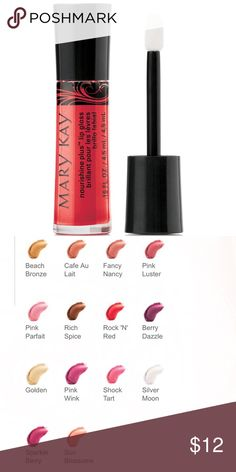 Mary Kay Nourishine Plus Lip Gloss Take lips from plain to plush — loaded with good-for-you moisture and serious shine. I have one of each color for 12 of the shades above! Customers have also bought the Satin Lips Set, which I have available as well. Mary Kay Makeup Lip Balm & Gloss