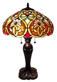Amora Lighting Tiffany Style Victorian Table Lamp With an elegant metal stem and floral pattern, this lamp honors the traditional look of the coveted lamps of the turn of the centur Tiffany Style Table Lamps, Tiffany Lamps, Victorian Table Lamps, Antique Lamps, Lamp Shade Store, Modern Light Fixtures, Light Table, Floor Lamp, Windows