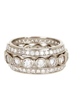 CZ Endless Round Eternity Band Set