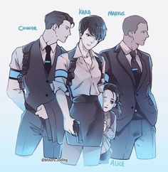 Detroit become human Connor, Kara, Markus and Alice  By: @minorujoeling