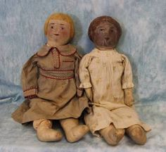 """Two Antique 25"""" C 1920 Early Painted Cloth Sister Dolls Folk Art Primitive 